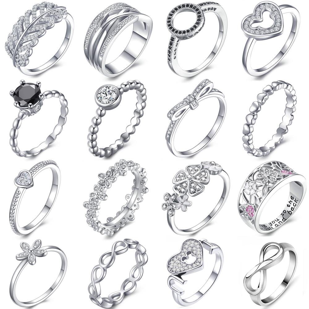 OCTBYNA Special Offer Silver Color Pan Finger Ring Stackable Party Original Ring For Women Engagement Wedding Jewelry Gift