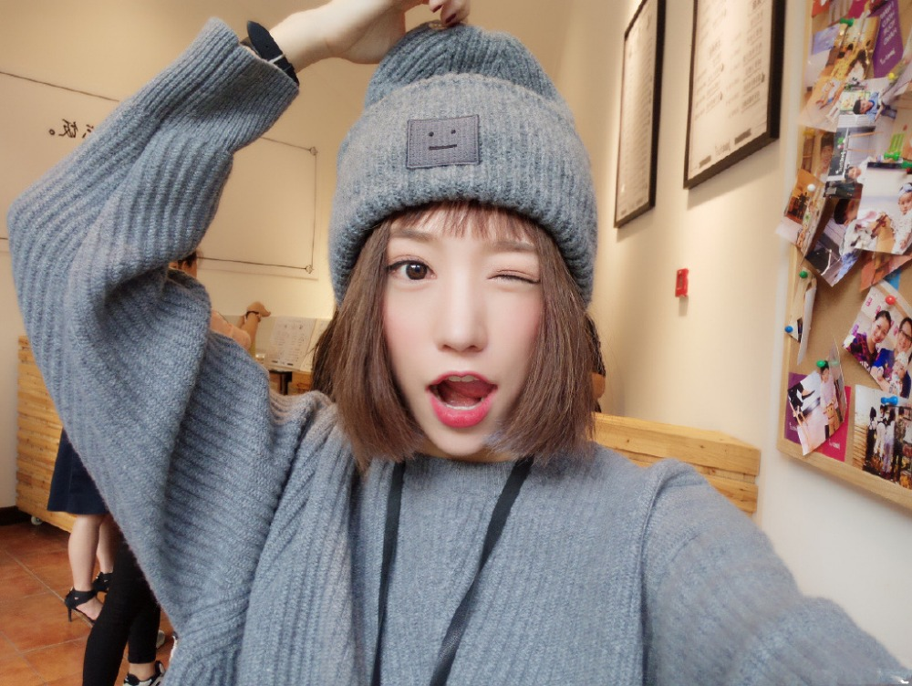 49511d91e41 2015 autumn and winter wool hat ACNE STUDIOS smiley couple paternity unisex  wool hat knitted winter Skulies   beanies wool cap-in Skullies   Beanies  from ...