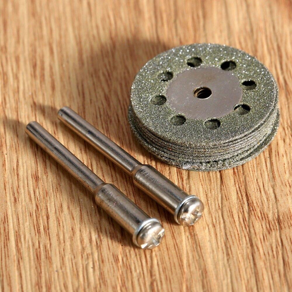DRELD 10pcs 25mm Dremel Accessories Diamond Grinding Wheel Circular Saw Blade Diamond Cutting Disc For Rotary Tool +2pcs Mandrel