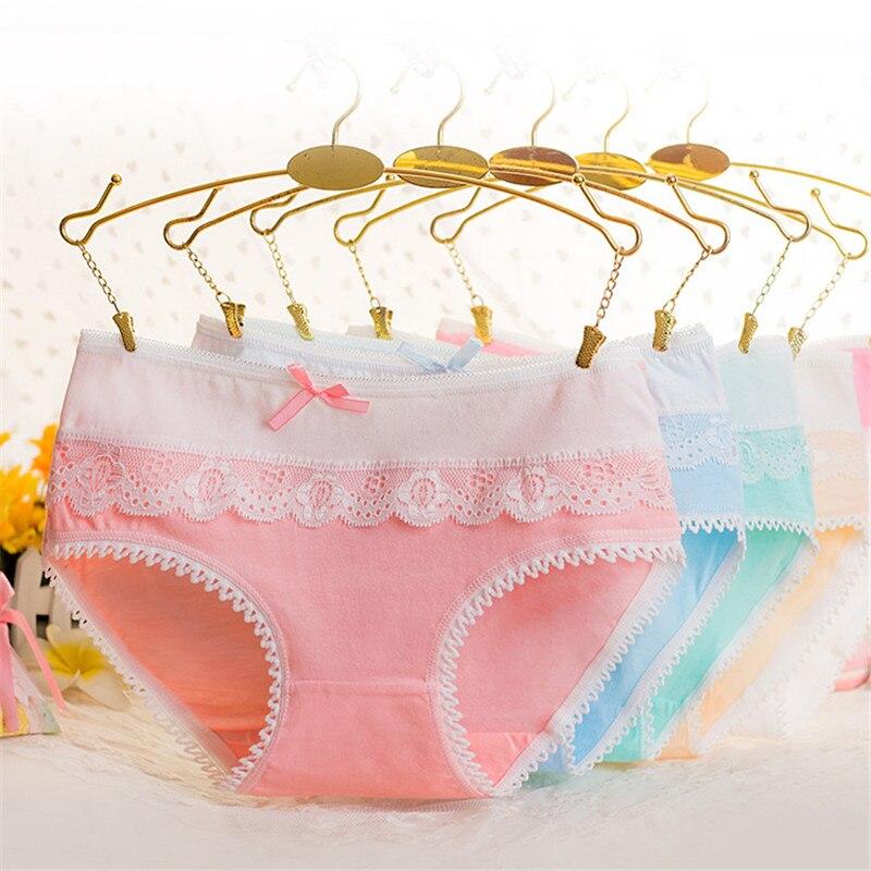PRTYWB Hot sale Cotton panties sexy women briefs lace Underware Bow Vs pink lingerie femme panty plus size shorts black white