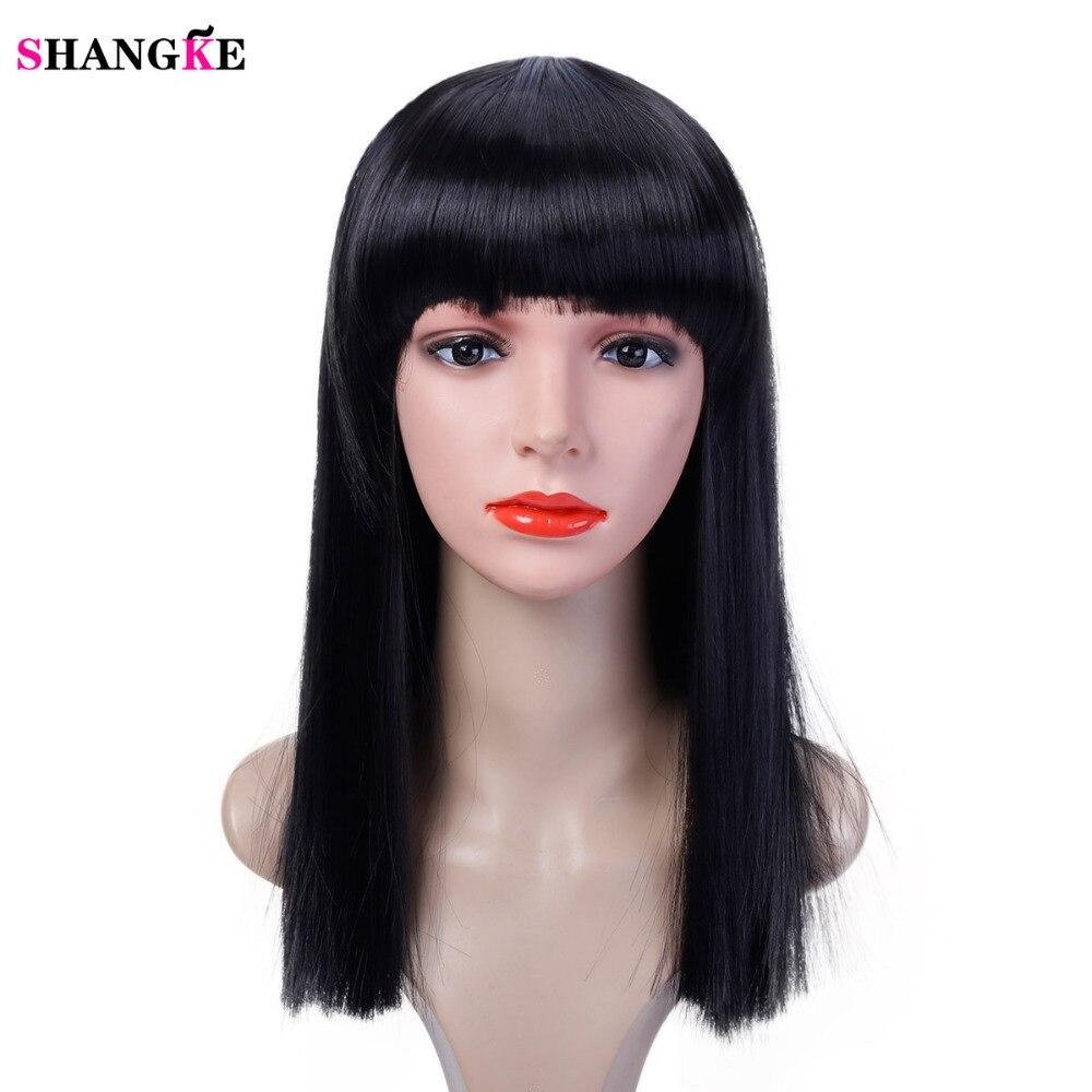 40 cm Halloween Haar Lange Gerade Perücke Womans Wärme Beständig Synthetische Weibliche Cosplay Perücken für Weiße Frauen Gefälschte Haar SHANGKE