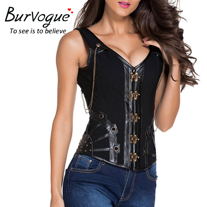 Burvogue New Steampunk   Corset   Vest Women Gothic Leather Steampunk   Corset   Sexy Steel Boned Waist Cincher   Corsets   and   Bustiers   top