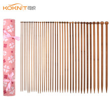 KOKNIT Bamboo Knitting Needles 36-Pack18 Mix Sizes 2.0mm-10.0mm Hooks Set with Pink Bag for Women Mom Gift