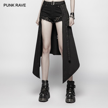 PUNK RAVE Women's Post Apocalyptic Daily Black Half Skirt Accessories Street Performance Personality Women Skirts Harajuku