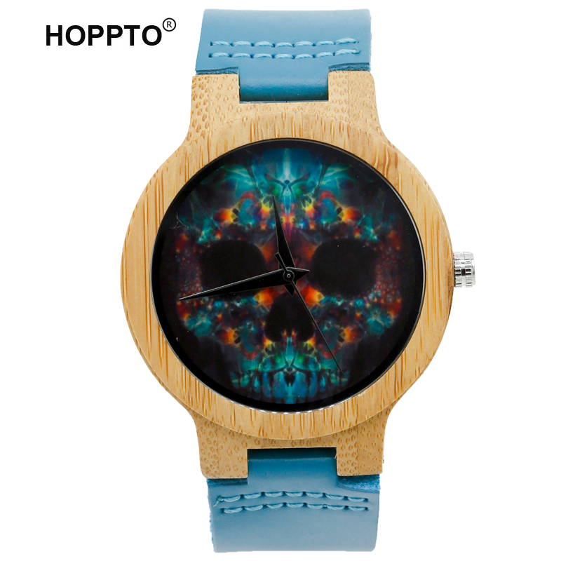 HOPPTO Women Watches Bracelet Bamboo Ladies Cool Design Flower Skull Wooden Handmade Real Leather Band Casual Nature Wood Watch