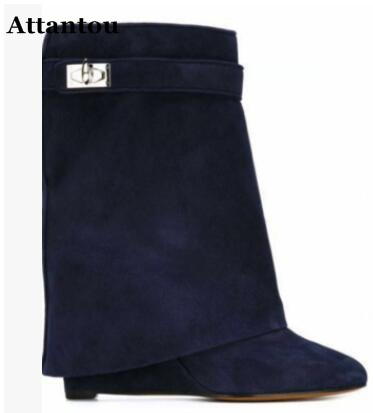 Fashionable sweet girl white/red/black suede mid-calf boots with chic metal decoration lock wedge heels woman shoes free ship fashionable women s mid calf boots with solid color and metal design