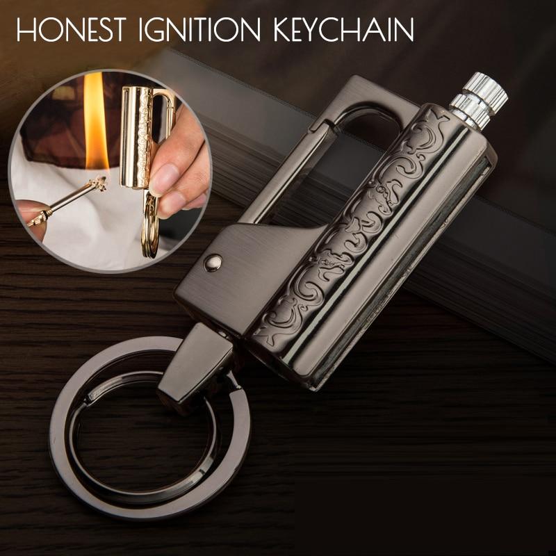 Honest Luxury Multifunction Car Keychain Tool Ignition Kerosene Match Men Key Chain Cigarette Lighter Jewelry Gift For Men