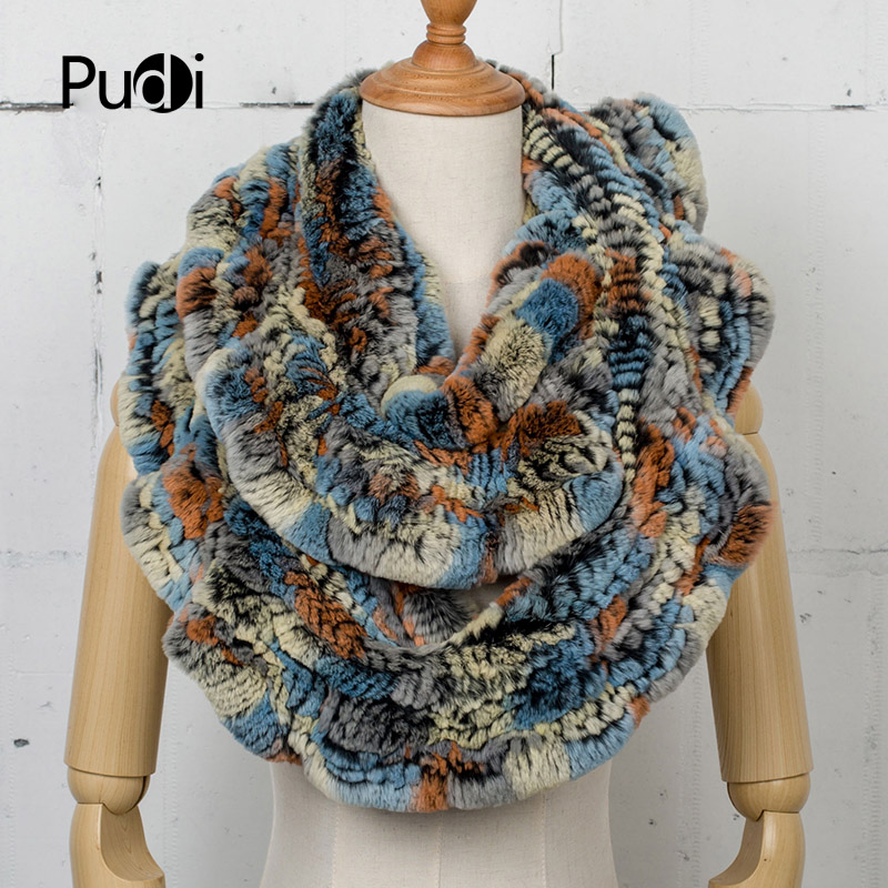 Pudi SF749 Unisex Real Rex Rabbit Fur Handmade Infinity Scarf Scarves Endless Snoods Cowl Women Winter Scarf