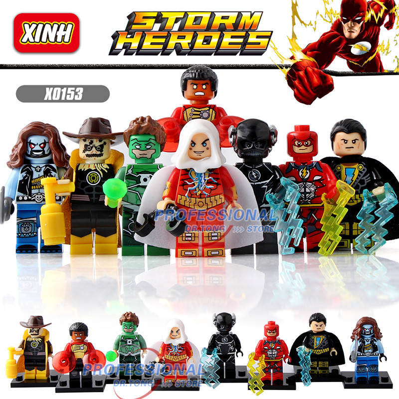 DR.TONG  X0153 Super Heroes Yellow Light the Scarecrow Black Adam Green Lanten Firestorm flash Building Blocks Child Gift Toys the scarecrow