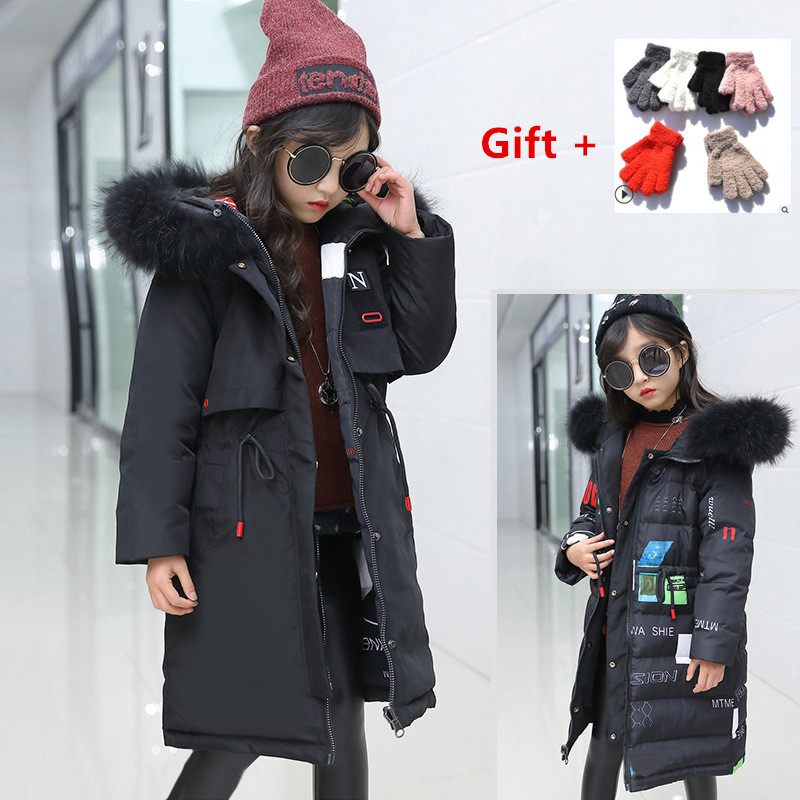Russian Winter Jacket for Girls Fur Hooded Girls Winter Coat 2018 Waterproof Children Jacket Down Cotton Parkas Coats Long winter jacket female parkas hooded fur collar long down cotton jacket thicken warm cotton padded women coat plus size 3xl k450