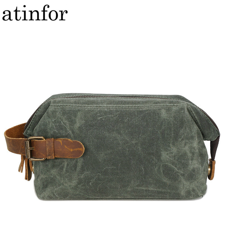 Waterproof Oil Wax Canvas And Genuine Leather Travel Makeup Bags Vintage Makeup Bag Cosmetic Traveling Bag Clutch Pouch