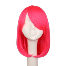 QQXCAIW Women Girls Bob Straight Cosplay Wig Costume Party Black White BLue Red Pink 40 Cm Synthetic Hair Wigs