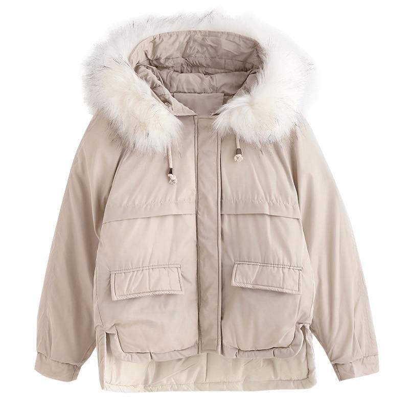 Fitaylor Short   Parkas   Loose Down Cotton Coats Winter Women Faux Fur Collar Warm Snow Black Hooded Jackets Casual Outwear