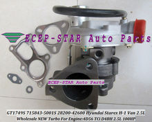Free Ship GT1749S 715843 715843-5001S 28200-42600 Turbo Turbocharger For Hyundai Starex H1 H200 H-1 H100 Van 2.5L D4BH 4D56TCI