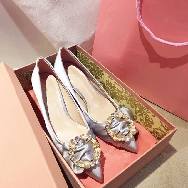 e1a893b614 Pearl Crystal-embellished Buckles Satin Pumps Party Wedding Women Shoes  80mm High Heels Silver Black Blade .