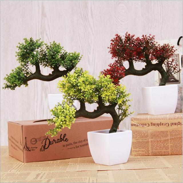 Free Shipping 1pcs Artificial Fake Plants Tree Leaves With Flower