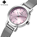 WWOOR Brand Luxury New Pink Dress Watches Women Casual Quartz Watch Ladies Clock Girl Steel Bracelet Wristwatch relogio feminino