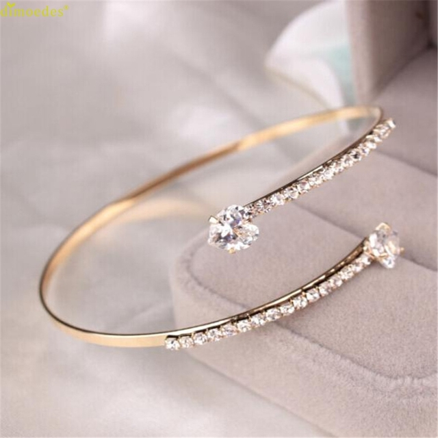 190103 HOT Brand Lady Elegant Crystal Angel Wings Zircon Love Hearts Bangle Brac