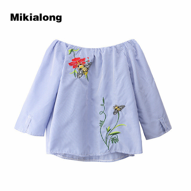 9289c2a1 Mikialong Floral Embroidery Off Shoulder Blouse Casual Black Blue Striped  Top Women 2017 Summer 3-4 Sleeve Shirt Women Blouses