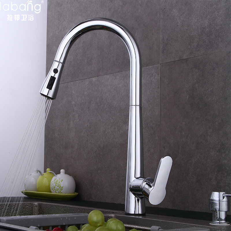 Labang New Arrival Pull out Kitchen faucet 3 function Sink mixer Faucet Pull Out Dual Sprayer Nozzle Hot Cold Mixer Water Taps new arrival without original box house kitchen cart barbecue kitchen cart simulation role playing best early education toys