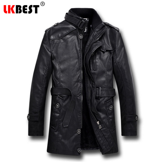 Aliexpress.com : Buy LKBEST 2017 Men Long Leather Jacket Winter ...