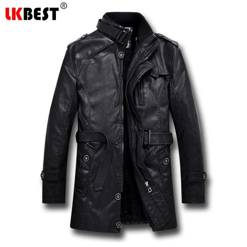 LKBEST 2019 Men Long Leather Jacket Winter Black Thick Winter Jacket Men Casual Motorcycle Jacket Brand Men's Overcoat (PY06)