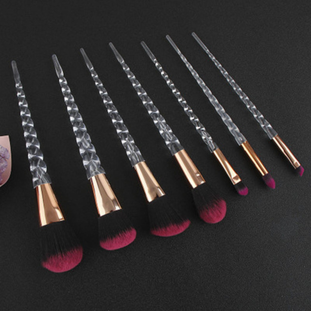 7 Piece Crystal Handle Unicorn Makeup Brush Set