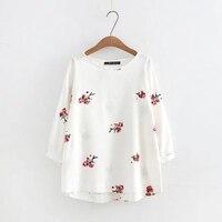 Plus Size Embroidery Cotton Linen Loose Women T Shirts 2017 Autumn Tee Three Quarter Lantern Sleeve