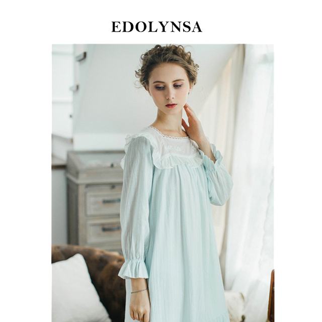 96ab48322e New Arrivals Lace Nightgowns Soft Home Dress Sexy Nightwear Women Sleepwear  Solid Sleep Lounge Vintage Nightgown Female  H352