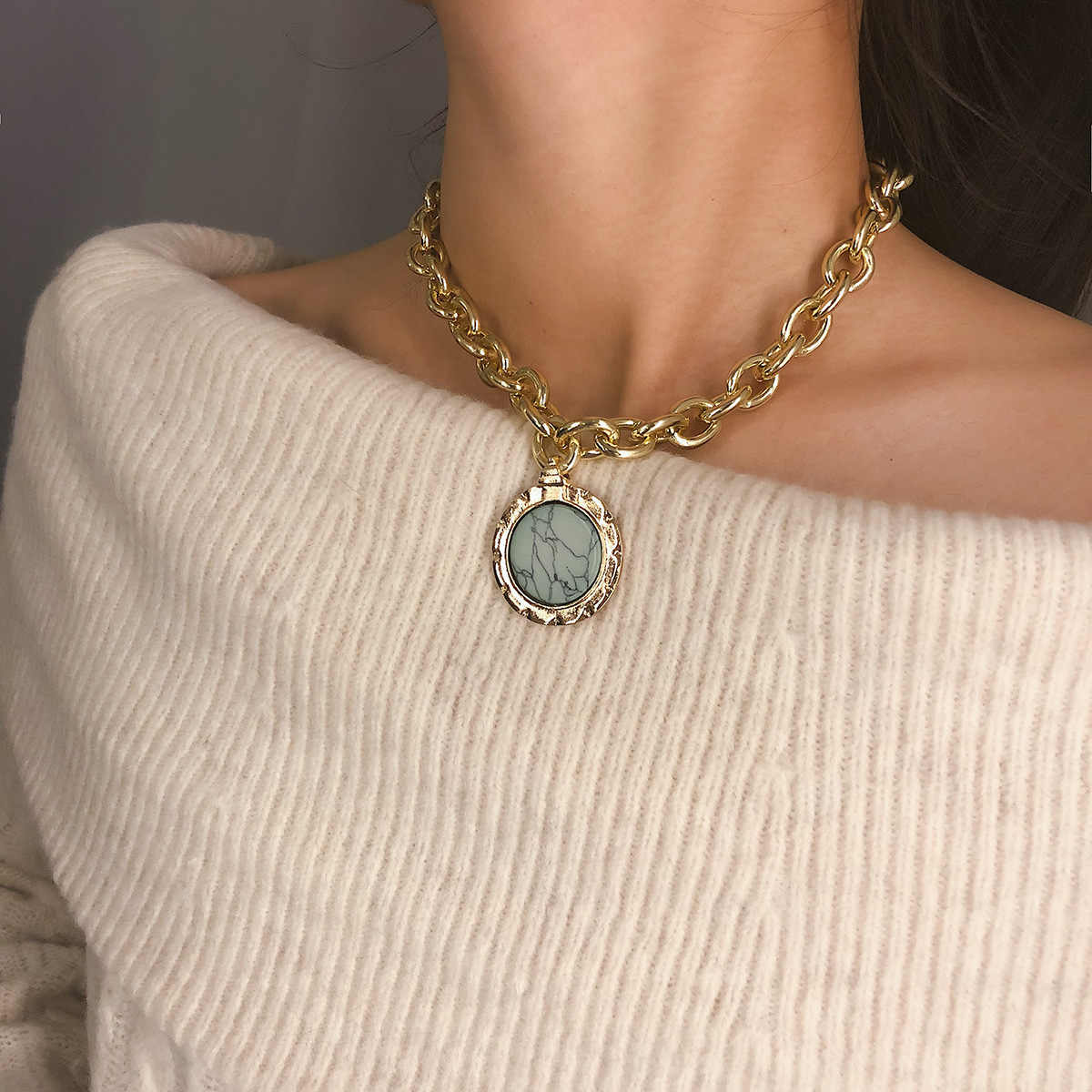 Vintage Geometric Stone Pendant Necklace for Women Thick Sweater Chain Statement Choker Necklace2019  Fashion Gold Color Collier