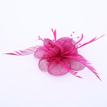 Women fancy sinamay feather hair accessories nice rhinestone decoration ladies wedding party