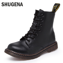 2016 Genuine leather women martin boots winter warm shoes botas feminina female motorcycle ankle fashion boots women botas mujer