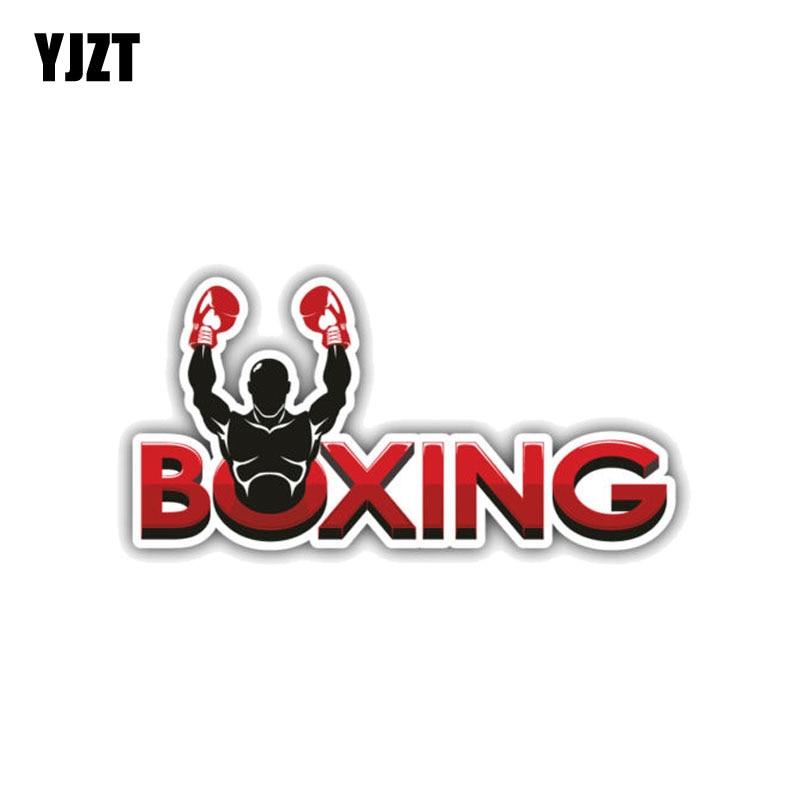 YJZT 10.9CM*5.3CM Creative Sport Boxing Car Sticker PVC Reflective Decal 12-1392