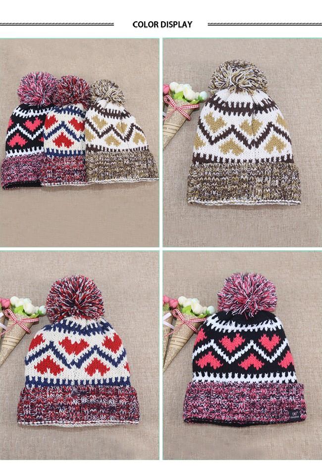 Acrylic Knitted Pattern Women Men Beanie Hat with Pom Pom (8)