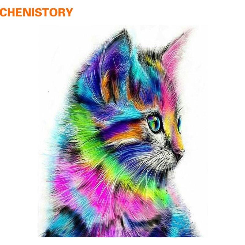 CHENISTORY Colorato Gatto Animali Pittura di DIY Dai Corredi di Numeri In Acrilico Moderna Immagine di Arte Della Parete Dipinta A Mano Per Il Regalo Unico 40x50