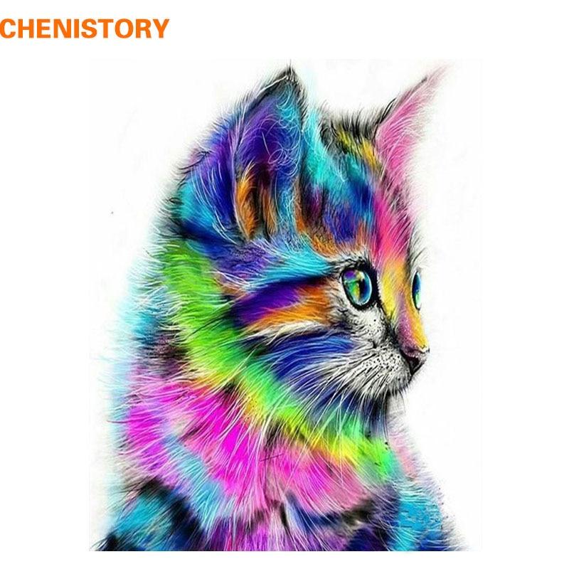 CHENISTORY colorido gato animales DIY pintura por números Kits acrílico moderno Wall Art Picture pintado a mano para regalo único 40x50
