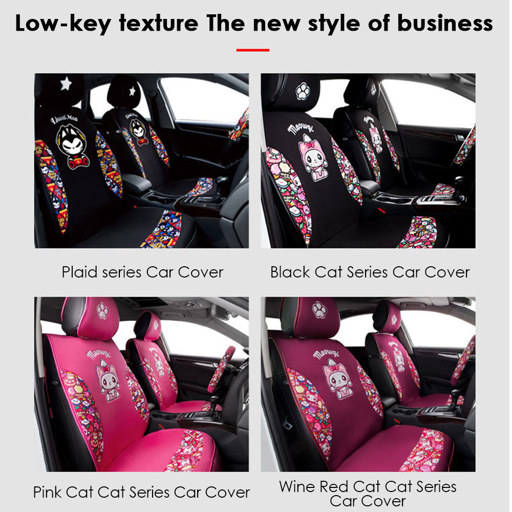 CHSKY Cute Cat Car Seat Covers Universal Cover Cars Protector Auto Set Cushion For Girls Styling Accessories In Automobiles