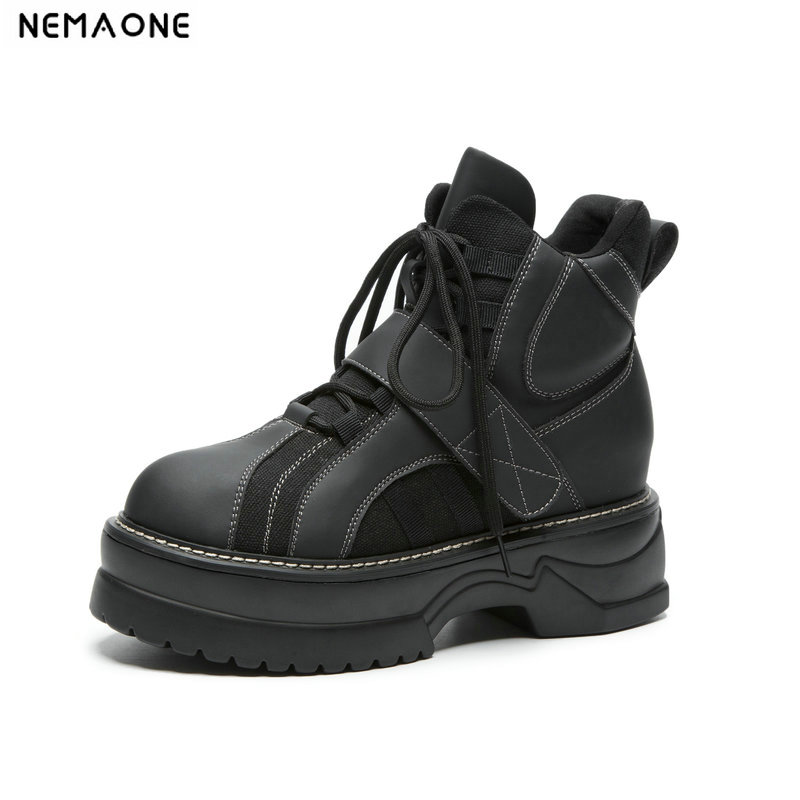 NEMAONE Cow leather Flat platform women ankle boots woman lace up motorcycle boots autumn winter shoes woman large size 42