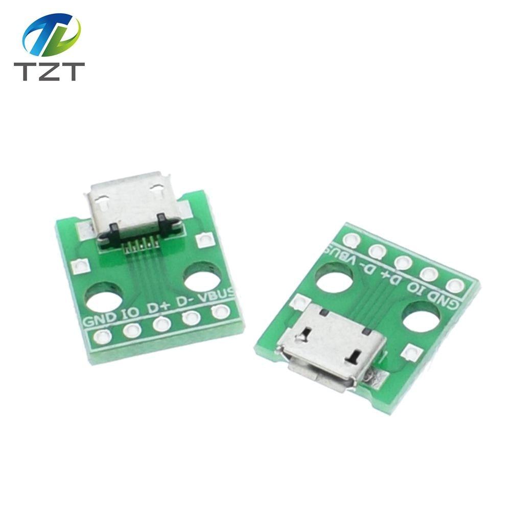 10pcs Mini Micro Usb To Dip 254mm Adapter Connector Module Board Db9 Wiring Diagram Male 5pin Female B Type Pcb