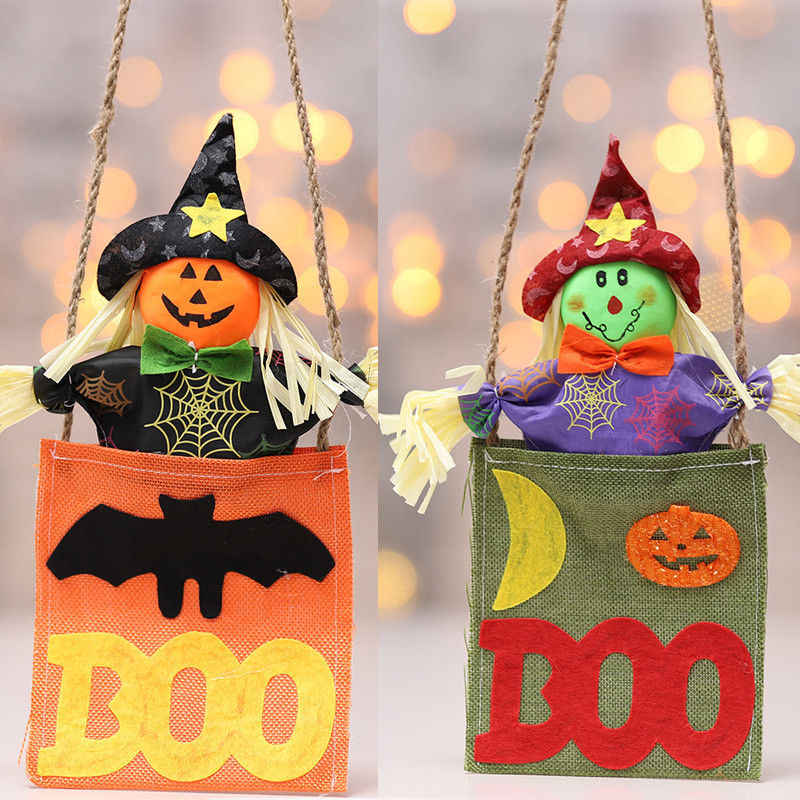 Halloween Pendant Plush Toy Doll Witch Pumpkin Doll Soft Doll Black Red Cap Party Ornament Utility Hanging Decoration