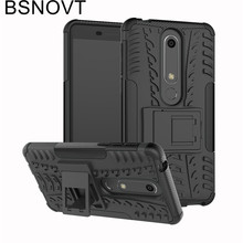 For Nokia 6.1 Case Dual Layer Armor Silicone Phone Holder Anti-knock 6 2018 Cover BSNOVT