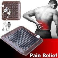 Nueva estera de calefacción infrarroja, cojín de masaje de turmalina Jade Natural, alivio del dolor en la espalda, alivio de la cintura, cojín de asiento para cuidado de la salud muscular de 220V