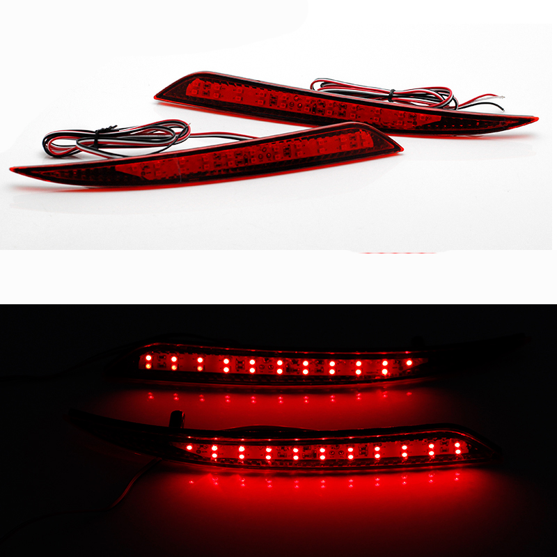 2pcs Car LED Rear Bumper Reflector Red Parking Warning Stop Brake Lights Tail Fog Lamp For Ford Mondeo Fusion 5 2013 2014 2015 universal brake lights 48 led red car auto third brake lights fog stop rear tail warning lamp bulb for dc12v parking