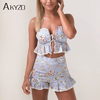 AKYZO Summer Two Piece Set Sexy Lace Up Ruffle Strapless Crop Camisole With High Waist Zipper