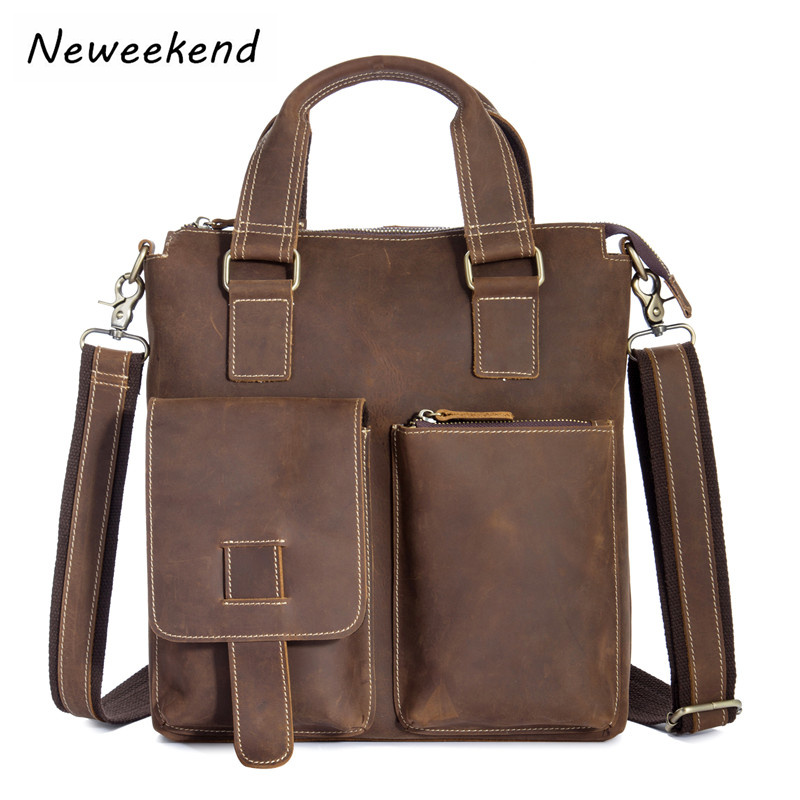 Neweekend Genuine Leather Mens Messenger Bag Male Man Shoulder Crossbody bags Handbags briefcase for Laptop Ipad 1208 25% off neweekend 1005 vintage genuine leather crazy horse large 4 pockets camera crossbody briefcase handbag laptop ipad bag for man