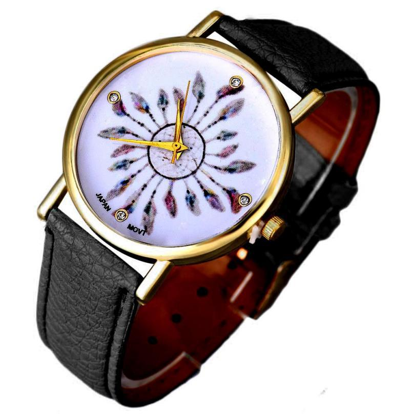 relojes de marca mujer 2017 children watches for girls kids gifts watches Feather Pattern Leather Band Analog Quartz Wrist Watch new cartoon children watch girl watches fashion boy kids student cute leather sports analog wrist watches relojes k519