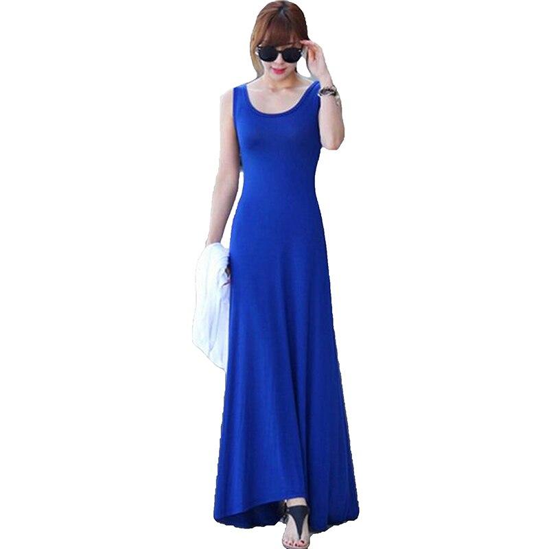 Verano de las mujeres vestido Sin Mangas del cuello de O vestido largo Modal cha