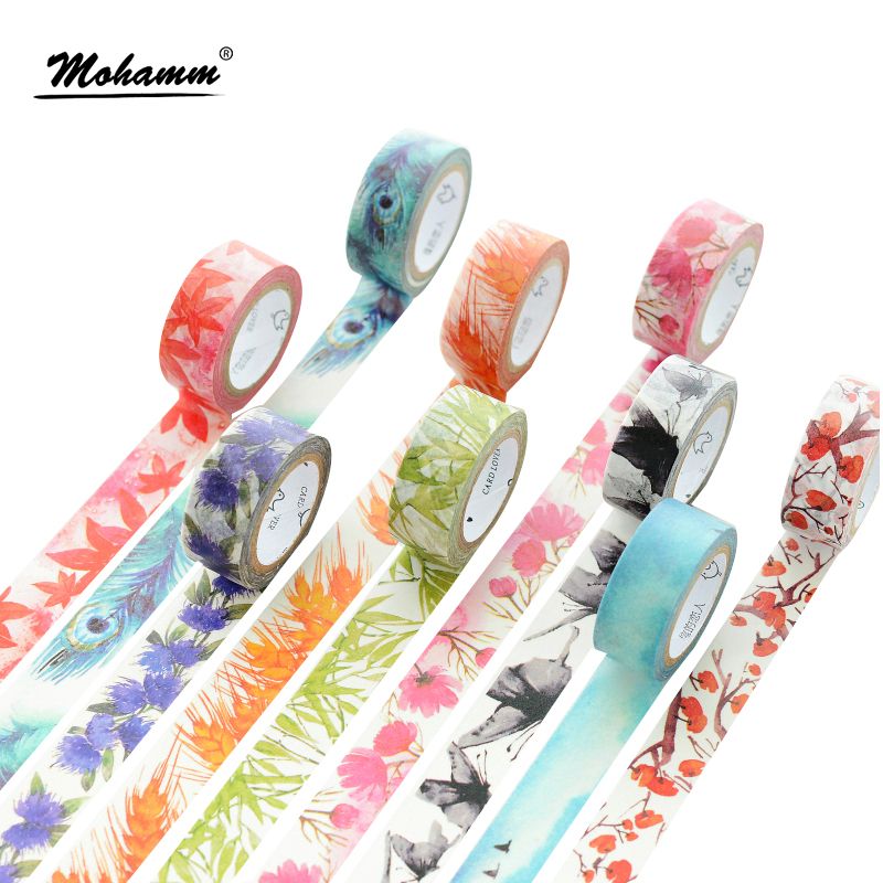 7M Japanese Cute kawaii Colorful Flowers Leaf Masking Washi Tape Decorative Adhesive Tape Diy Scrapbooking School Office Supply colorful gilding hot silver alice totoro decorative washi tape diy scrapbooking masking craft tape school office supply