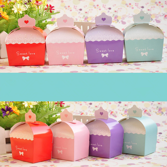 Whole 100 X Purple Pink Red Blue Wedding Candy Box Crown Sweet