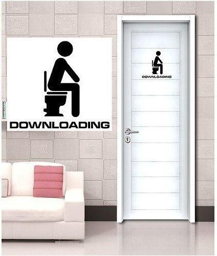 Home Decor Funny Downloadingbathroom Entrance Sign Vinyl Sticker For Shop Office Home Cafe Hotel Toilets Door